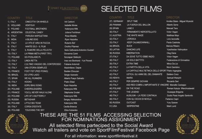 Sport Film Festival 2017 - Selected films