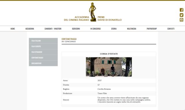 Premi David di Donatello - Corsa d'estate