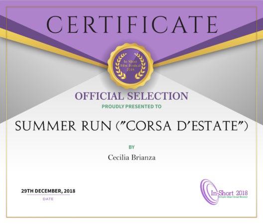 Inshort Film Festival 2018 - Corsa d'estate - Certificate